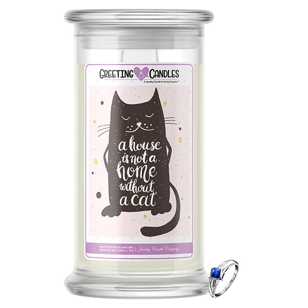 A House Is Not A Home Without A Cat | Jewelry Greeting Candle