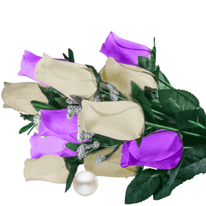 Purple & Cream Bouquet Pearl Roses
