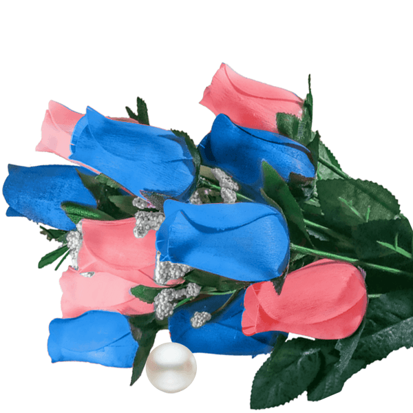 Baby Blue & Peach Bouquet Pearl Roses