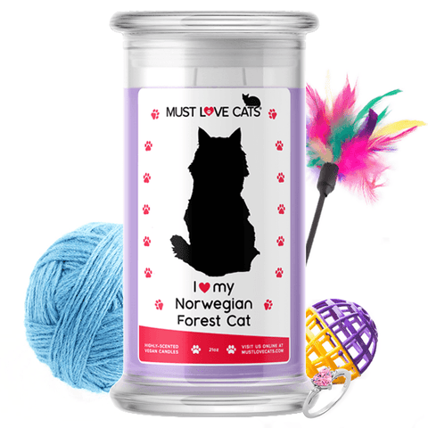 I Love My Norwegian Forest Cat | Must Love Cats® Candle-Must Love Cats® Candle-The Official Website of Jewelry Candles - Find Jewelry In Candles!