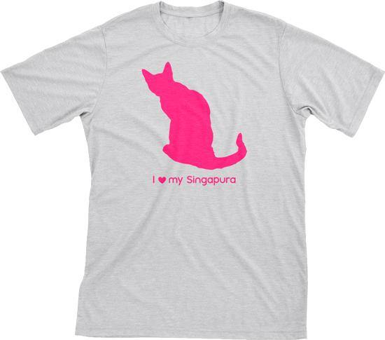 I Love My Singapura | Must Love Cats® Hot Pink On Heathered Grey Short Sleeve T-Shirt-Must Love Cats® T-Shirts-The Official Website of Jewelry Candles - Find Jewelry In Candles!