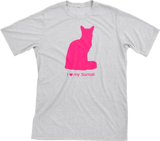 I Love My Somali | Must Love Cats® Hot Pink On Heathered Grey Short Sleeve T-Shirt-Must Love Cats® T-Shirts-The Official Website of Jewelry Candles - Find Jewelry In Candles!