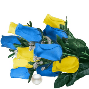 Baby Blue & Yellow Bouquet Pearl Roses