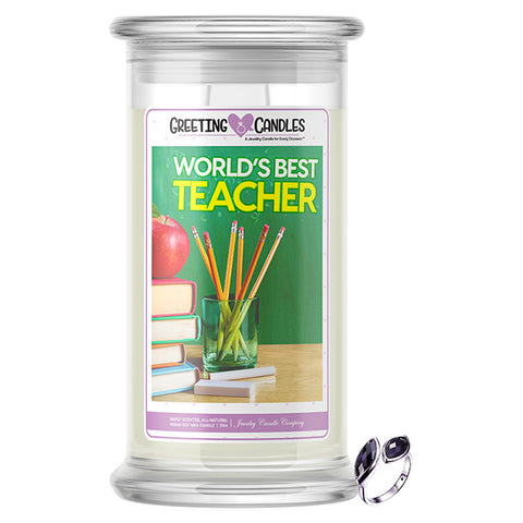 World's Best Teacher Jewelry Greeting Candles