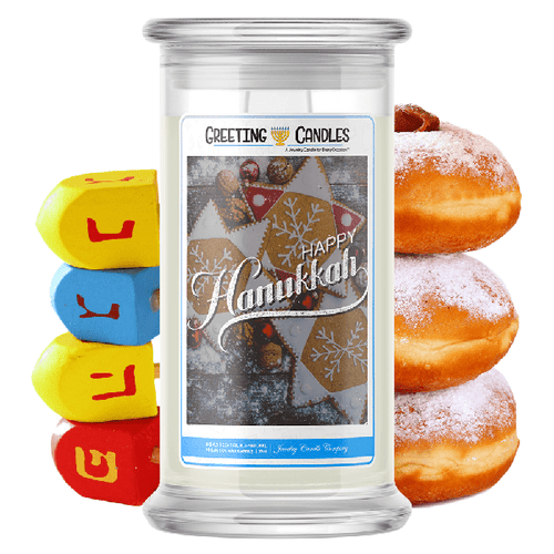 Happy Hanukkah | Hanukkah Holiday Greeting Candle-Greeting Candles®-The Official Website of Jewelry Candles - Find Jewelry In Candles!