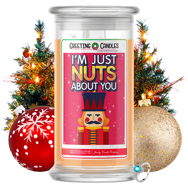 I'm Just Nuts About You | Christmas Holiday Greeting Candle-Greeting Candles®-The Official Website of Jewelry Candles - Find Jewelry In Candles!