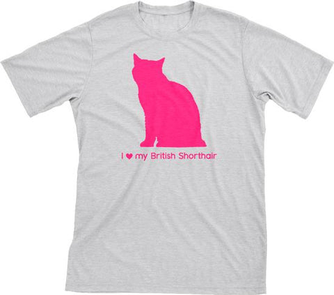 I Love My British Shorthair | Must Love Cats® Hot Pink On Heathered Grey Short Sleeve T-Shirt-Must Love Cats® T-Shirts-The Official Website of Jewelry Candles - Find Jewelry In Candles!