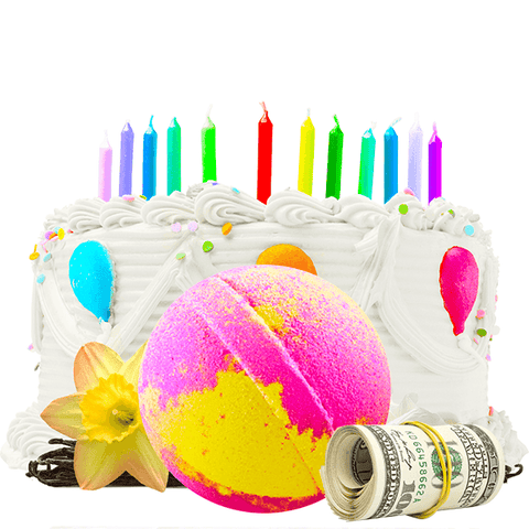 Birthday Cake | Single Cash Bath Bomb®-Cash Bath Bombs-The Official Website of Jewelry Candles - Find Jewelry In Candles!