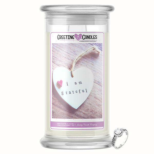 I Am Grateful Jewelry Greeting Candle