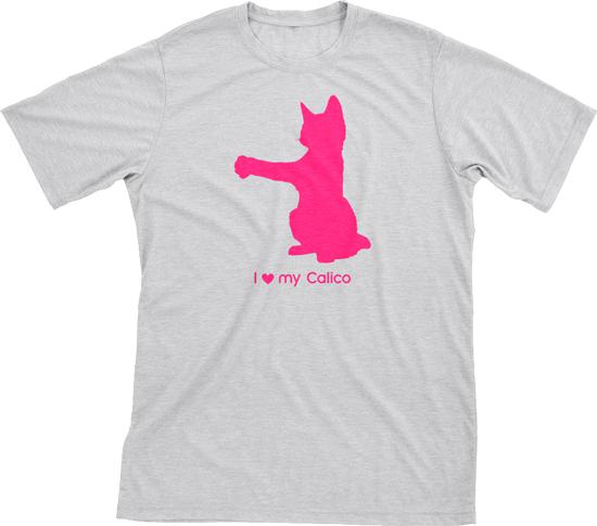 I Love My Calico | Must Love Cats® Hot Pink On Heathered Grey Short Sleeve T-Shirt-Must Love Cats® T-Shirts-The Official Website of Jewelry Candles - Find Jewelry In Candles!
