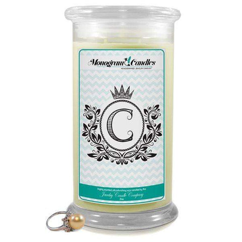 Letter C Monogram Candles-Monogram Candles-The Official Website of Jewelry Candles - Find Jewelry In Candles!