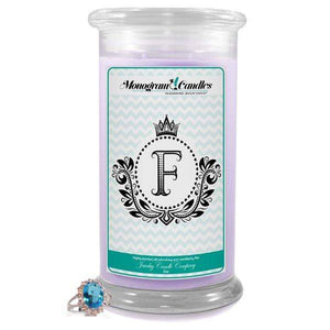 Letter F Monogram Candles-Monogram Candles-The Official Website of Jewelry Candles - Find Jewelry In Candles!
