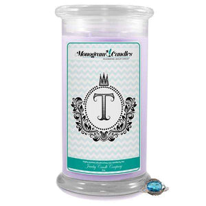 Letter T Monogram Candles-Monogram Candles-The Official Website of Jewelry Candles - Find Jewelry In Candles!