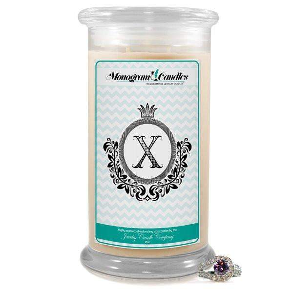 Letter X Monogram Candles-Monogram Candles-The Official Website of Jewelry Candles - Find Jewelry In Candles!