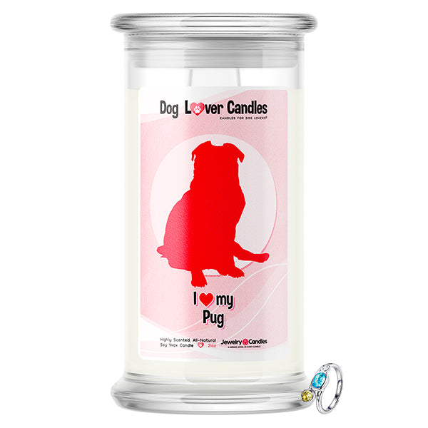 Pug Dog Lover Jewelry Candle
