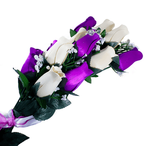 Purple & Cream Bouquet | Jewelry Roses®-Jewelry Roses®-The Official Website of Jewelry Candles - Find Jewelry In Candles!
