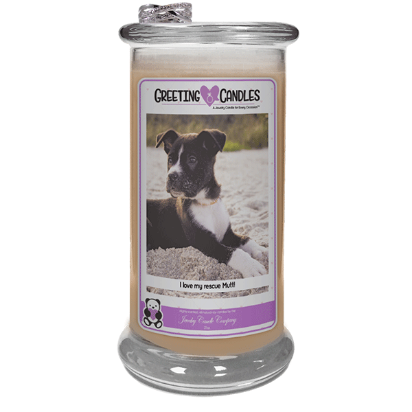 I love my rescue Mutt! - Jewelry Greeting Candles