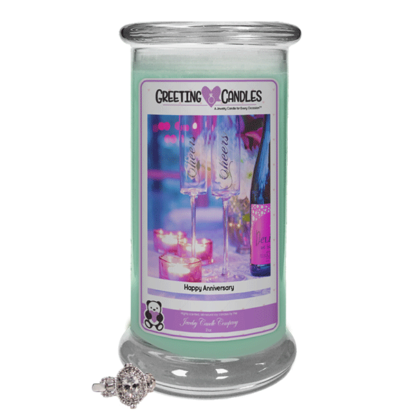 Happy Anniversary Jewelry Greeting Candle