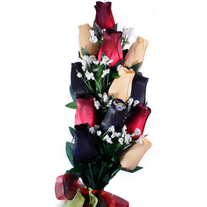 Red, Black & Peach Bouquet | Jewelry Roses®-Jewelry Roses®-The Official Website of Jewelry Candles - Find Jewelry In Candles!