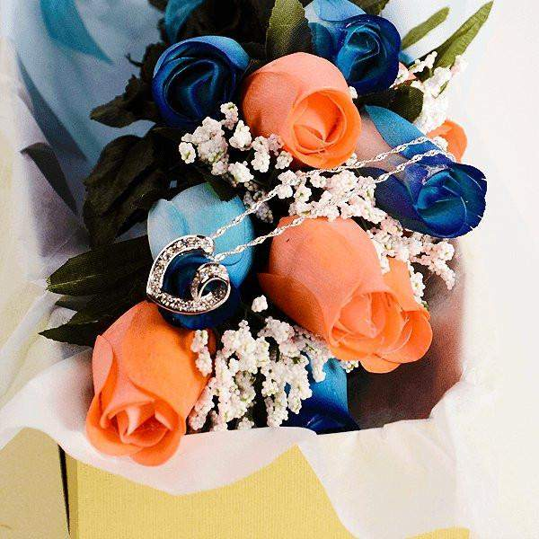 Blue & Coral Half Dozen Wax Dipped Roses-Create Your Own Dozen Roses-The Official Website of Jewelry Candles - Find Jewelry In Candles!