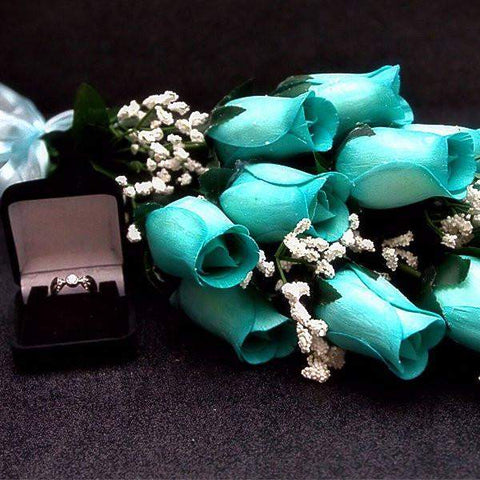 Baby Blue Half Dozen Jewelry Roses-Create Your Own Dozen Roses-The Official Website of Jewelry Candles - Find Jewelry In Candles!