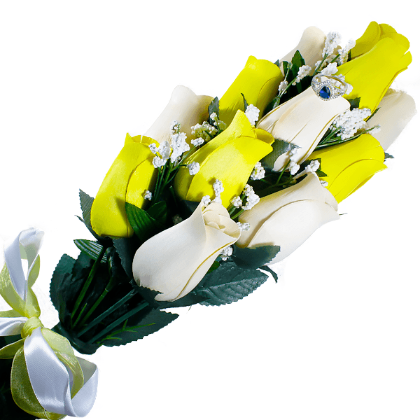 Cream & Yellow Bouquet | Jewelry Roses®-Jewelry Roses®-The Official Website of Jewelry Candles - Find Jewelry In Candles!