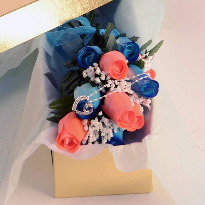 Scented Blue And Coral Mixed Wax Roses Bouquet-Wax Dipped Roses-The Official Website of Jewelry Candles - Find Jewelry In Candles!