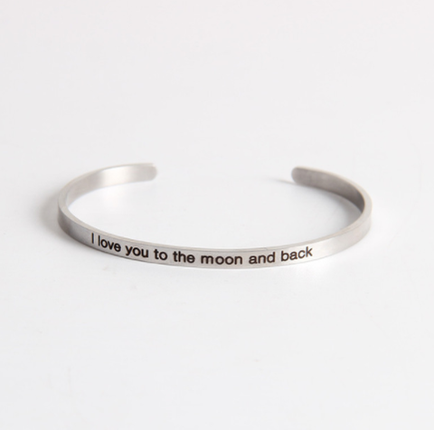 I Love You To The Moon And Back Stainless Steel Cuff Bracelet-The Official Website of Jewelry Candles - Find Jewelry In Candles!