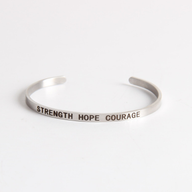 Strength Hope Courage Stainless Steel Cuff Bracelet-The Official Website of Jewelry Candles - Find Jewelry In Candles!