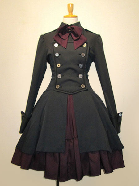 Gothic Lolita Dress OP Black Cotton Double Breasted Button Long Sleeve Bow Ruffled Lolita One Piece Dress image