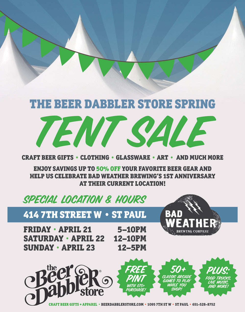 Beer Dabbler Store Spring Tent Sale at Bad Weather Brewing
