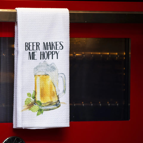 Beer Makes Me Hoppy Tea Towel
