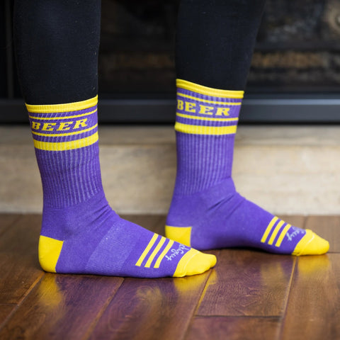 "Purple and Gold ""Beer"" Crew Cut Gym Socks"