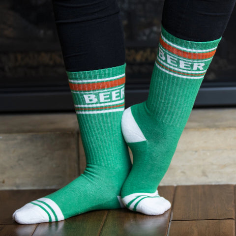 Green and Orange Beer Crew Cut Gym Socks