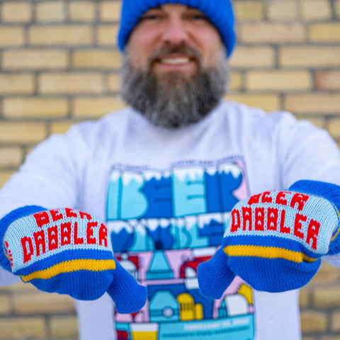 Red & Blue Beer Dabbler Mittens