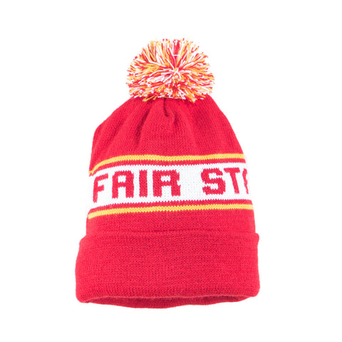 Fair State Brewing Cooperative Pom hat - Red yellow white with cuff and multi pom