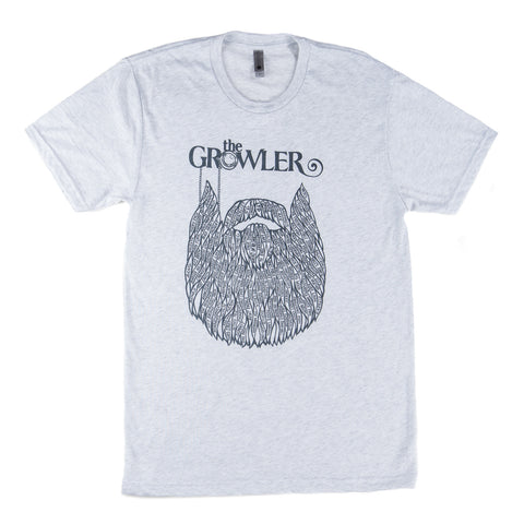 Super soft, heathered grey cotton poly t-shirt with Growler Magazine's Beard logo and featuring the names of Minnesota's oldest AND newest breweries.