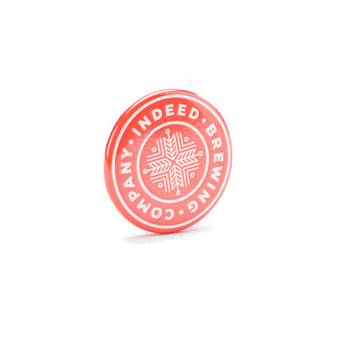 Indeed Brewing Company Logo button - orange and white front