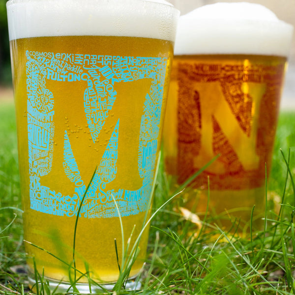 MN Brewery Squares by Jeff Nelson Pint Glass