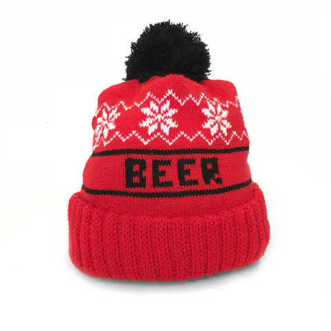 Red & Black Beer Dabbler Pom Hat