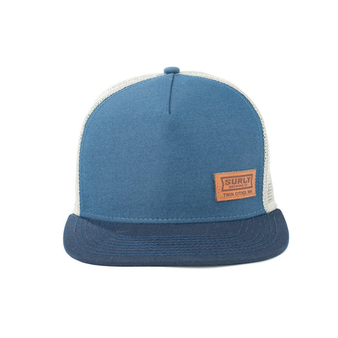 Blue Flat brim Surly Brewing trucker hat