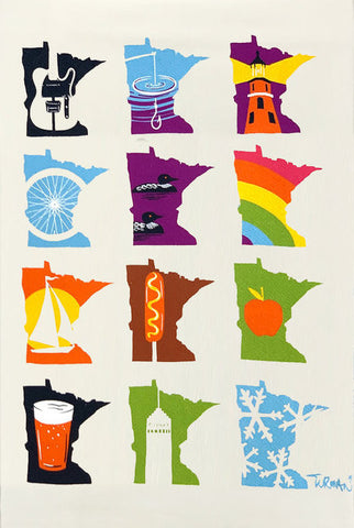 MN Months Tea Towel by Adam Turman