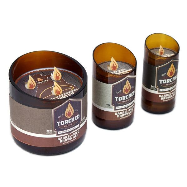 Barrel-Aged Brown Ale Recycled Glassware Candle