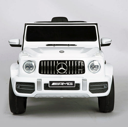 RICCO® Mercedes Benz AMG G63 Licensed 12V 7Ah Battery Powered Electric Ride On Toy Car , Bluetooth, FM, MP3 (White)