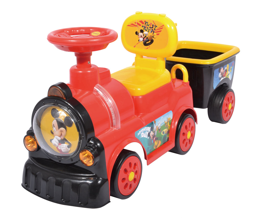 RICCO Foot to Floor Push Along Ride On Toy Train with Trailer and Under Seat Compartment Storage WJ018