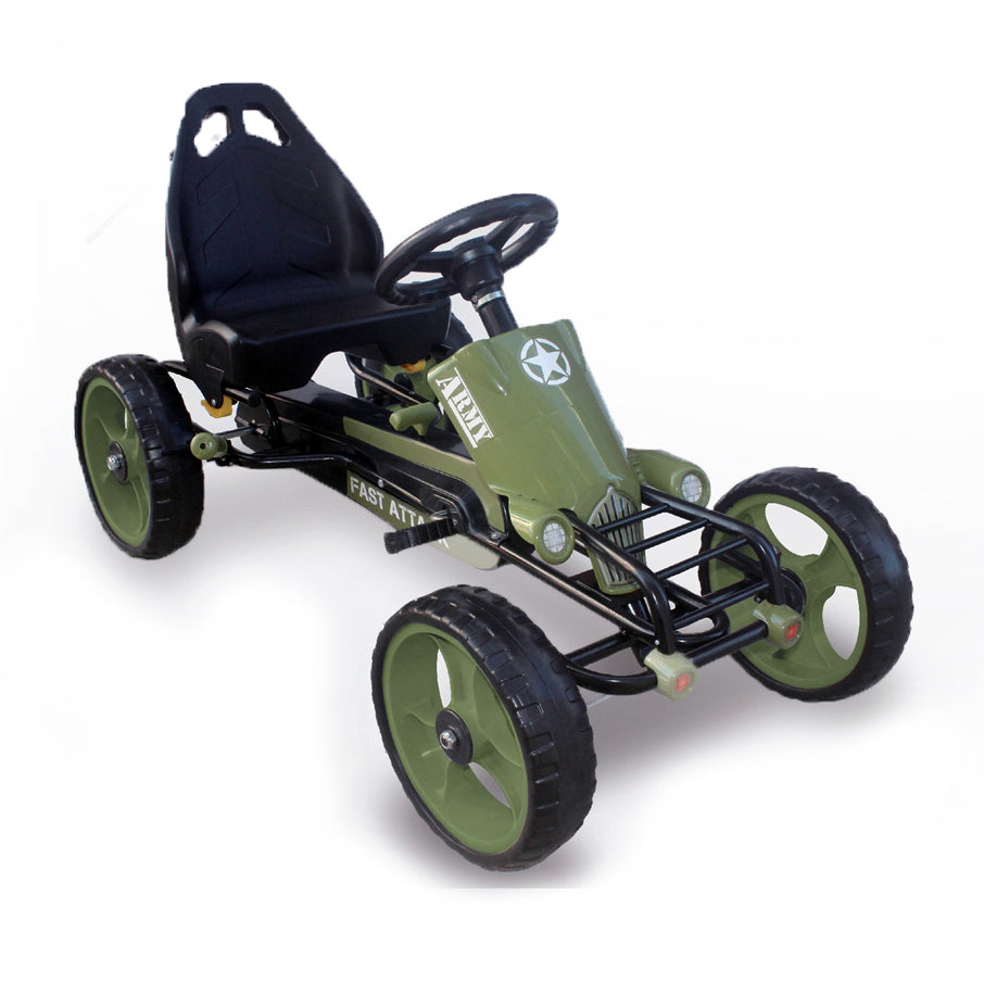 Military Style Foot Pedal Go Kart with EVA wheels ( Model: B2036) Green