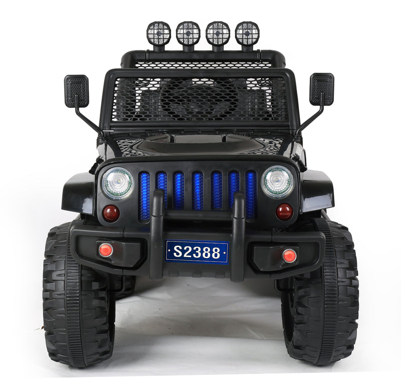 S2388 4x4 Kids Electric Ride On Car with Remote Control LED Lights and Music BLACK