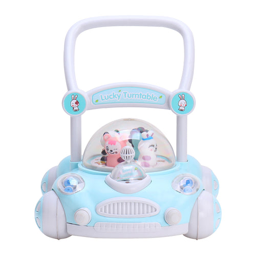 RICCO® Baby Sit to Stand Push Along Walker with Rotating Cartoon Characters for 1+ Year Olds ( Model ZX7621) BLUE