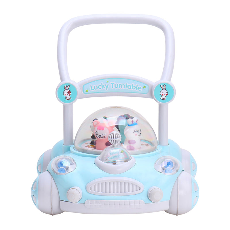 RICCO Baby Sit to Stand Push Along Walker with Rotating Cartoon Characters for 1+ Year Olds ( Model ZX7621) BLUE