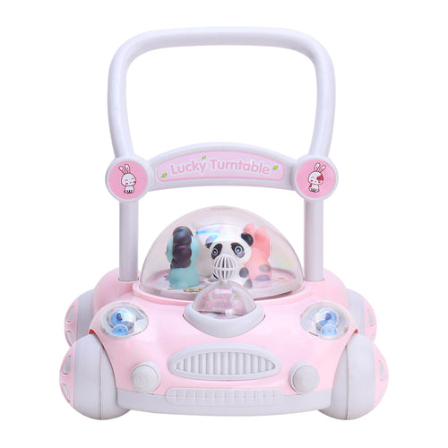 RICCO® Baby Sit to Stand Push Along Walker with Rotating Cartoon Characters for 1+ Year Olds ( Model ZX7621) PINK